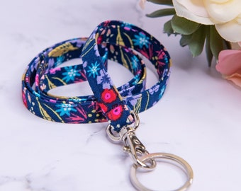 Navy Blue Flower Print Fabric Lanyard for ID badge, keys
