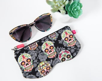 Sunglass and or Eyeglass Zippered Case, in Sugar Scull Fabric