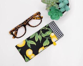 Eyeglass case , Sunglass Case, Lemon Print Fabric