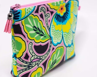 Zip Pouch, Cosmetic Bag, Accessory Bag in Amy Butler Lark Dreamer Floral Couture Pitch Grey Fabric