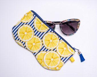 Sunglass and or Eyeglass Zippered Case, Lemon and Blue Stripe Fabric