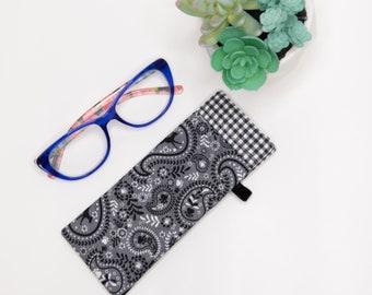Eyeglass case , Sunglass Case, Gray Paisley Print Fabric