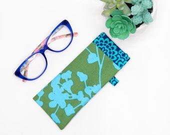 Eyeglass case , Sunglass Case, Blue and Green Amy Butler Fabric