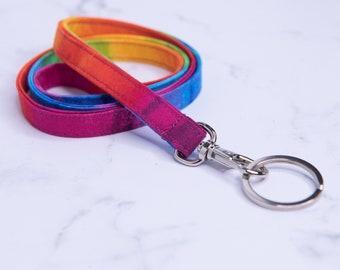 Tie-Dye Rainbow Fabric Lanyard for ID badge, keys