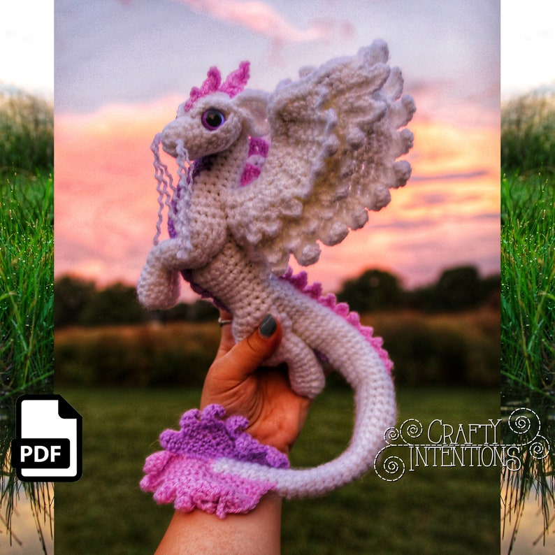 Elemental Air Dragon Crochet Amigurumi Digital PDF Pattern by image 0