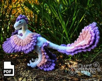 Microraptor Dinosaur Crochet Pattern by Crafty Intentions DIGITAL PDF Downloadable