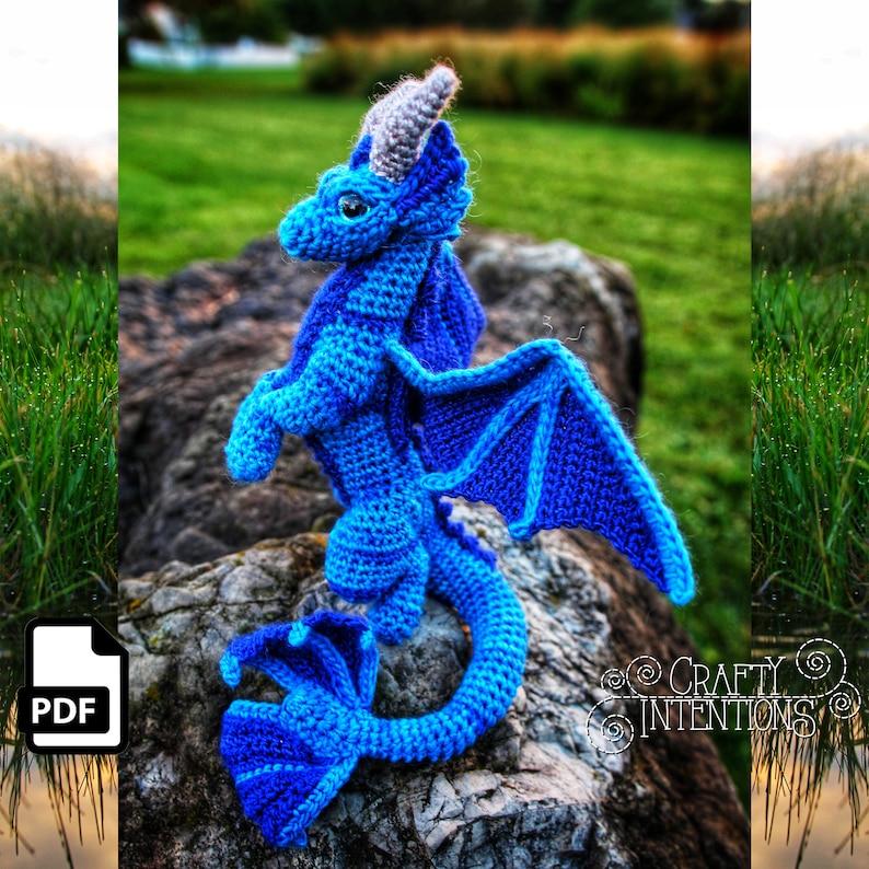 Elemental Water Dragon Crochet Amigurumi Digital PDF Pattern image 0