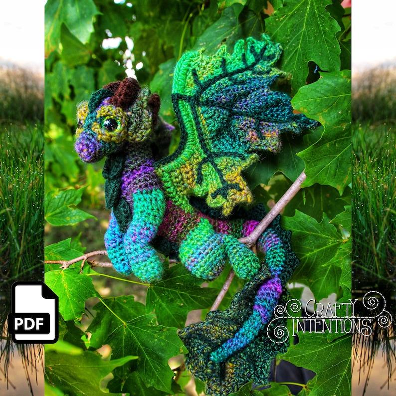 Elemental Earth Dragon Crochet Amigurumi Digital PDF Pattern image 0