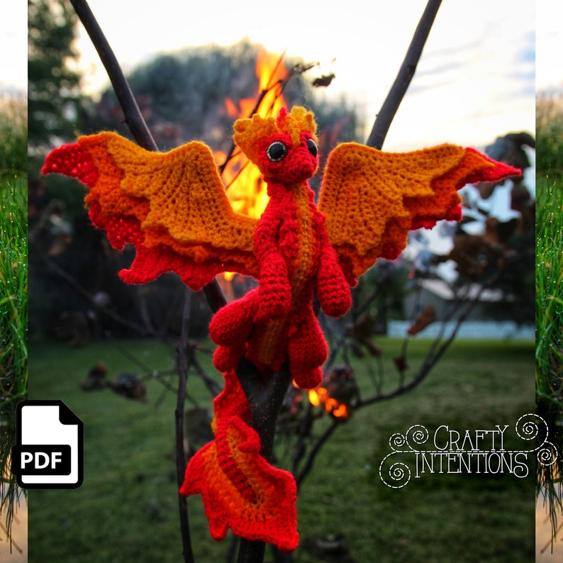 Elemental Fire Dragon Crochet Amigurumi Digital PDF Pattern by image 0