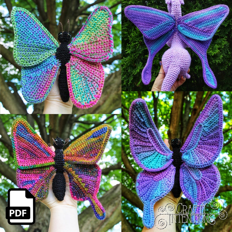 Butterfly Crochet Amigurumi Pattern DIGITAL PDF by Crafty image 0