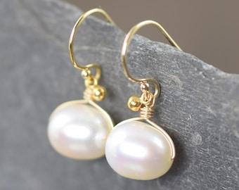 White Pearl earrings june birthstone earrings gold filled wire wrapped earrings dangle earrings gifts for her