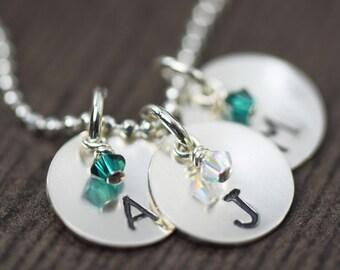 Initial Necklace - Stamped Necklace -Birthstone Necklace - Personalized Jewelry - Minimalist Jewelry