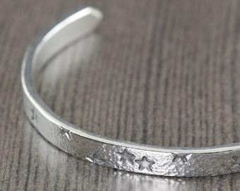 Silver cuff bracelet Starry Night star bracelet unisex bracelet for men or women bracelets