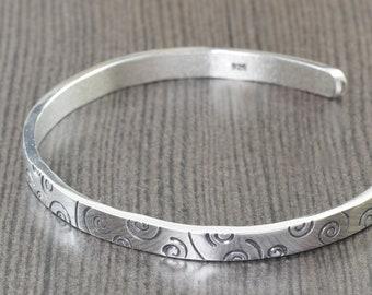 swirl bracelet Sterling silver cuff bracelet bangle bracelet unisex bracelet mens bracelet gifts for her