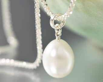 gifts for her White Pearl necklace with sterling silver chain June Birthstone necklace