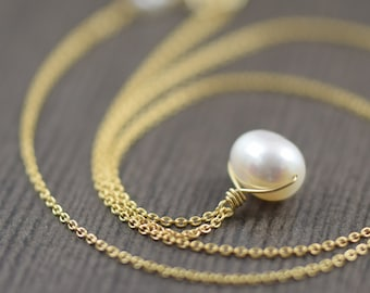Wire wrapped White freshwater pearl necklace on gold filled chain gifts for her