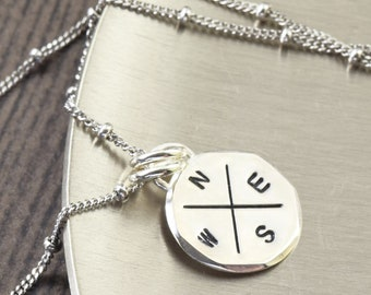 Compass Necklace Travel necklace compass charm necklace gifts for her