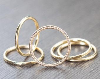 14K gold ring, Unisex gold ring, gold stacking ring, wedding band