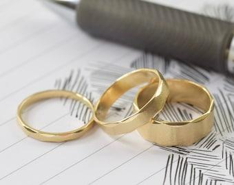 14K gold ring, Wide rippled matte finish Unisex gold ring, Satin finish gold stacking ring, wedding band, Pick 1