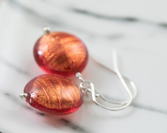 Ready to Ship, Rustic Red Murano glass earrings on sterling silver earwires