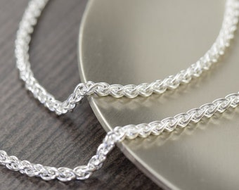 Wheat silver chain bracelet 2mm Italian chain Gifts for her or him Unisex bracelet