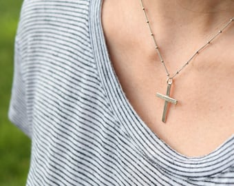 Ready to Ship, Sterling silver cross necklace, Handcrafted crucifix necklace, unisex cross necklace gifts for her or him, wood grain texture