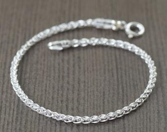 925 Sterling Silver bracelet, Wheat chain, unisex sterling silver chain, 2mm thick chain, 7 inch or 8 inch bracelet