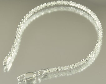 Sterling silver Fancy sparkle bracelet in 7 inch or 8 inch Made in Italy, Italian chain, gifts for her