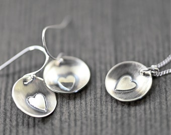 Sterling silver heart earrings and necklace. Available as a set or individually
