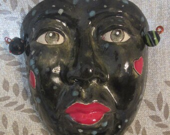 Ceramic Art Mask, OOAK Mask, Mardi Gras  Wall hanging, collectible