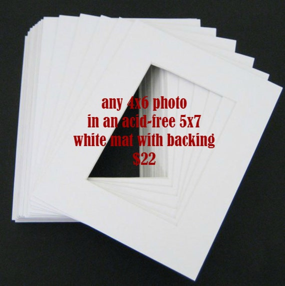Any Rectangular 4x6 Photo in 5x7 White Mat
