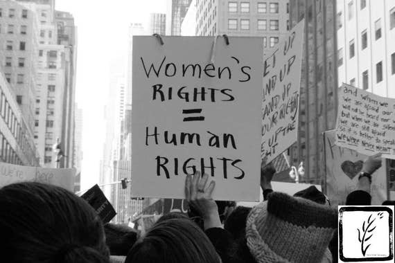"""""""Women's Rights = Human Rights,"""" New York City Women's March, 2017."""