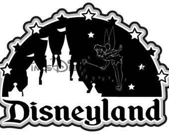 Disneyland SVG Clipart Tinkerbell Castle Retro Title Scrapbook Vacation Disney World Cricut Silhouette Cut File