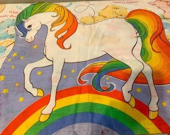 Vintage 80's Starlite Rainbow Brite Cut & Sew Single Panel *Left Facing