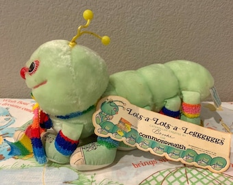 Vintage 80's Mint Green Lots-a-Lots-a-Leggggggs Centipede Plush With Hang Tag