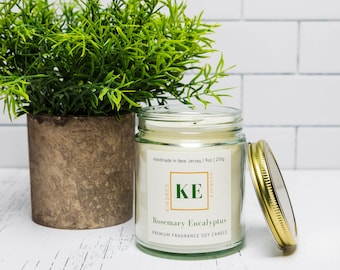 ROSEMARY EUCALYPTUS Herbal Soy Candle Home Fragrance  by Kindred Essence