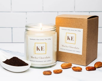 MOCHA CHOCOLATA Premium Home Fragrance Scented Soy Candle by Kindred Essence