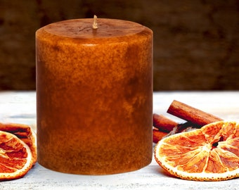 Handmade Cinnamon Orange Candle Pillar -  Decorative, 14 ounces - 397 grams