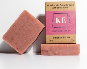 Patchouli Rose Organic Shea Butter Moisturizing Soap Bar with Essential Oils