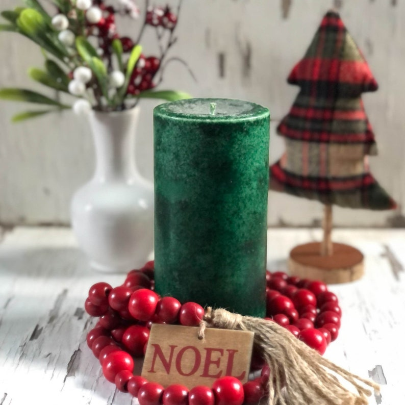 Balsam Fir Candle Pillar for Christmas Holidays 6 Inches