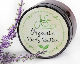 Lavender Natural Organic Body Butter — Handmade with shea butter and essential oils, 4 oz (114 grams)