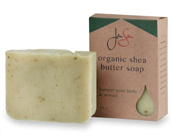 Mint Tea Natural Organic Herbal Soap Bar - Shea Butter - Vegan Friendly, Cold Process, 4.5 oz (128 grams)
