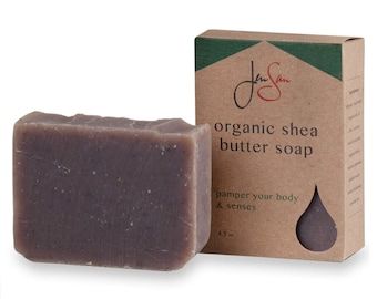 JenSan Lavender Oatmeal Organic Shea Butter Soap Bar - Cold Process - 4.5 oz - 128 grams