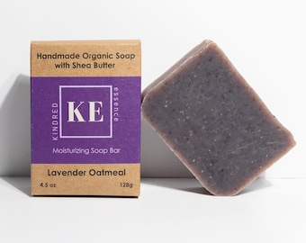 Lavender Oatmeal Organic Shea Butter Moisturizing Soap Bar - Cold Process - 4.5 oz - 128 grams