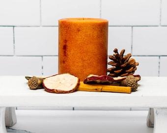 Caramel Apple Candle Pillar -  Handmade, 14 ounces - 397 grams