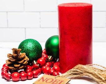 Christmas Wreath Candle Pillar for the Holidays
