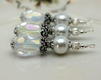Vintage Style Clear AB Crystal Teardrop with White Pearl Bead Dangle Set - Earring Dangle, Pendant, Wedding, Bride, Bridemaids