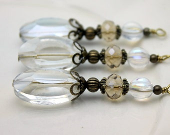 Clear Faceted Oval Crystal and Czech Crystal Beaded Long Necklace Pendant, Bead Dangle, Earring Dangle, Charm Drop Set