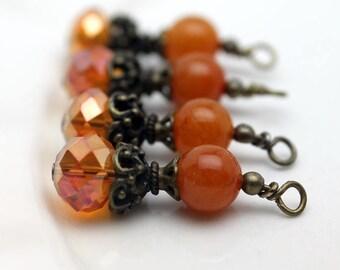 Antiqued Orange AB Rondelle Crystal with Orange Gemstone Bead Dangle Drop Set