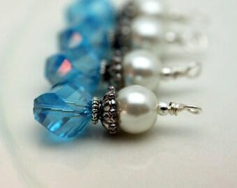 Aqua Blue Rhombus Cut Crystal and Pearl Bead Drop Dangle Charm Set